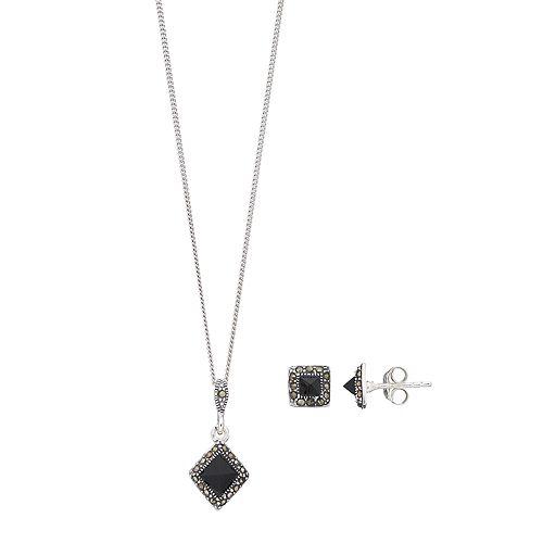 Tori Hill Sterling Silver Onyx & Marcasite Pendant & Stud Earring Set