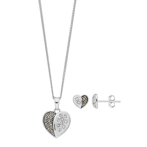 Tori Hill Sterling Silver Marcasite & Crystal Heart Pendant & Stud Earring Set