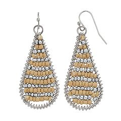 Two Tone Seed Bead Nickel Free Woven Teardrop Earrings