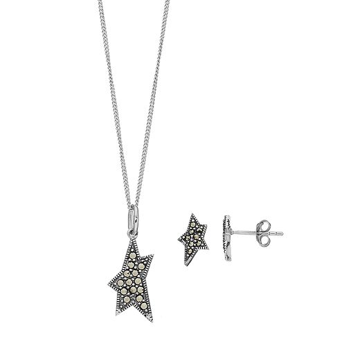 Tori Hill Sterling Silver Marcasite Shooting Star Pendant & Stud Earring Set