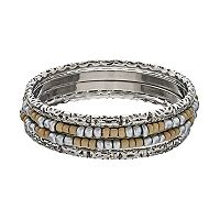 Two Tone Seed Bead Bangle Bracelet Set