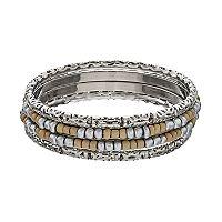 Two Tone Seed Bead Bangle Bracelet Set