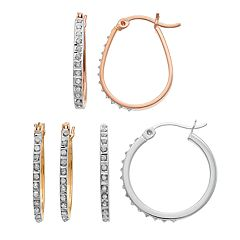 Diamond Mystique Tri-Tone Sterling Silver Hoop Earring Set