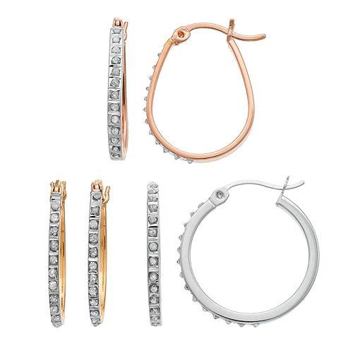 Diamond Mystique Tri-Tone Sterling Silver Hoop Earring Set