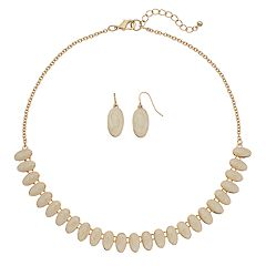Swirling Oval Necklace & Drop Earring Set