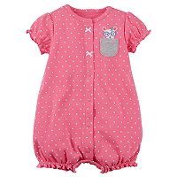Baby Girl Carter's Polka-Dot Pocket Mouse Snap-Up Romper