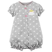 Baby Girl Carter's Cloud Pattern Snap-Up Romper