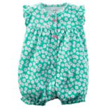 Baby Girl Carter's Floral Pattern Ruffle Back Snap-Up Romper