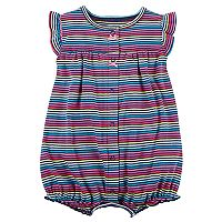 Baby Girl Carter's Heart Applique Back Striped Snap-Up Romper