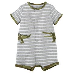 Baby Boy Carter's Striped Alligator Romper