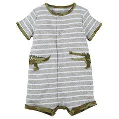 Baby Boy Carter's Striped Alligator Romper