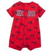 Baby Boy Carter's Fire Truck 'Hero' Snap-Up Romper