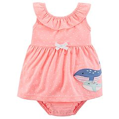Baby Girl Carter's Whale Applique Polka-Dot Dress