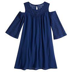 Girls 7-16 My Michelle Crochet Cold Shoulder Shift Dress