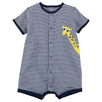 Baby Boy Carter's Striped Giraffe Applique Snap-Up Romper