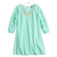 Girls 7-16 My Michelle Lace Ruffle Sleeve Shift Dress