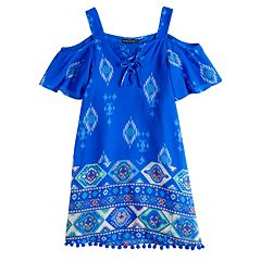 Girls 7-16 My Michelle Cold Shoulder Lace Up Shift Dress