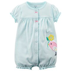 Baby Girl Carter's Striped Bird Applique Romper