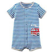 Baby Boy Carter's Striped Fire Truck Romper