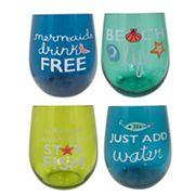 Celebrate Summer Together 4 pc Stemless Wine Glass Set