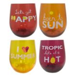 Celebrate Summer Together 4 pc Stemless Wine Glass Set