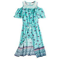 Girls 7-16 My Michelle Cold Shoulder Walk-Through Dress
