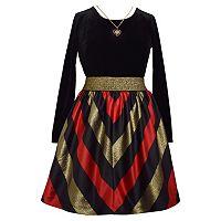 Girls 7-16 Bonnie Jean Velvet Striped Dress