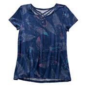 Girls 7-16 & Plus Size Mudd® Cage Front  Feather Print Tee