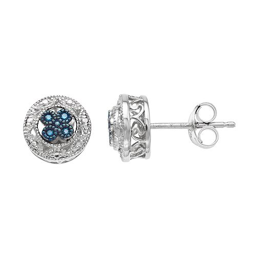 Simply Vera Vera Wang Sterling Silver White & Blue Diamond Accent Circle Stud Earrings