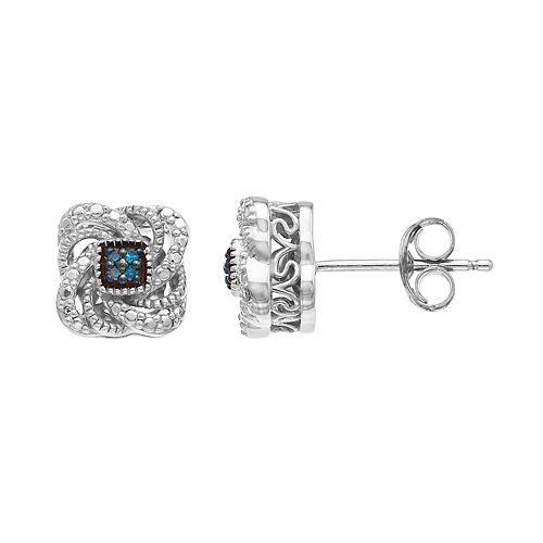 Simply Vera Vera Wang Sterling Silver White & Blue Diamond Accent Swirl Stud Earrings