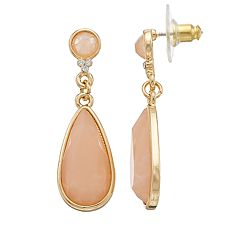LC Lauren Conrad Peach Stone Nickel Free Teardrop Earrings