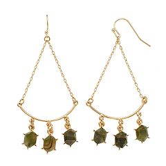 LC Lauren Conrad Green Stone Nickel Free Chandelier Earrings