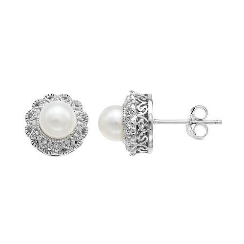 Simply Vera Vera Wang Sterling Silver Freshwater Cultured Pearl & Diamond Accent Flower Stud Earrings
