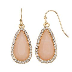 LC Lauren Conrad Pave Halo Nickel Free Teardrop Earrings