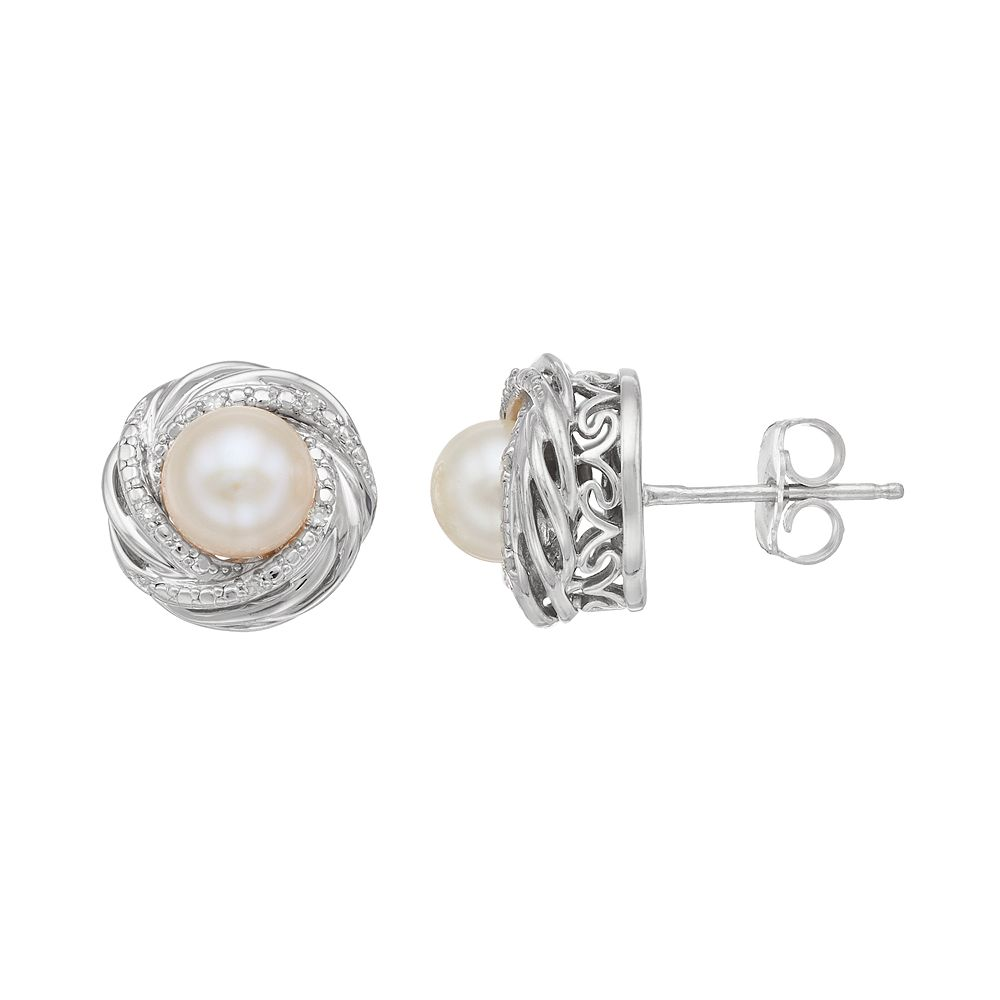 accent gold itm cultured diamond white leverback pearl earrings in glo set akoya