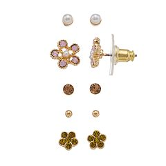LC Lauren Conrad Flower & Solitaire Nickel Free Stud Earring Set