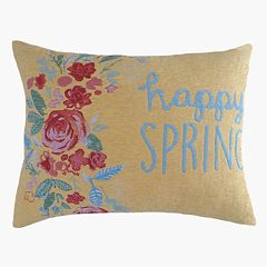 Celebrate Easter Together ''Happy Spring'' Tapestry Oblong Throw Pillow