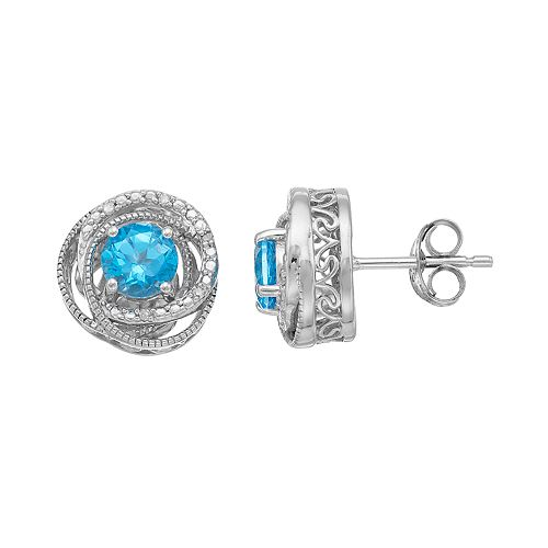 Simply Vera Vera Wang Sterling Silver Blue Topaz & Diamond Accent Swirl Stud Earrings