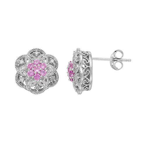 Simply Vera Vera Wang Sterling Silver Lab-Created Pink Sapphire & 1/10 Carat T.W. Diamond Flower Stud Earrings
