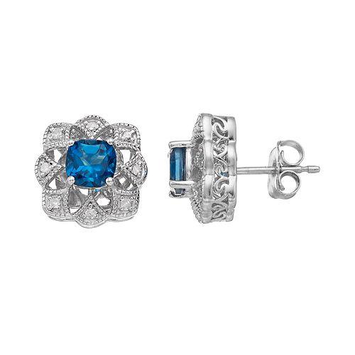 Simply Vera Vera Wang Sterling Silver London Blue Topaz & 1/6 Carat T.W. Diamond Flower Stud Earrings
