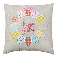Celebrate Easter Together ''Happy Easter'' Egg Wreath Throw Pillow