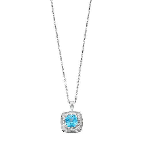 Simply Vera Vera Wang Sterling Silver Blue Topaz & Diamond Accent Square Pendant