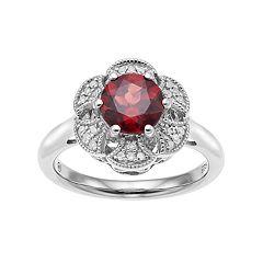 Simply Vera Vera Wang Sterling Silver Garnet & 1/10 Carat T.W. Diamond Flower Ring