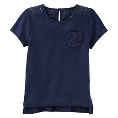 Girls 4-12 OshKosh B'gosh® Navy Eyelet Pocket Tee