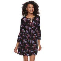 Juniors' Mudd® Print Crinkle Lace-Up Dress