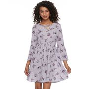 Juniors' Mudd® Print Crinkle Lace-Up Dress