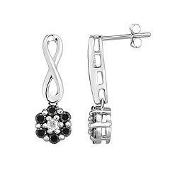 Sterling Silver 1/2 Carat T.W. Black & White Diamond Cluster Infinity Drop Earrings