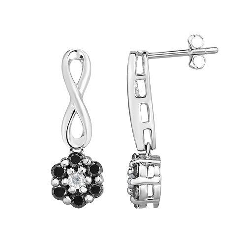 Sterling Silver 1/2 Carat T.W. Black & White Diamond Cluster Infinity Drop Earrings
