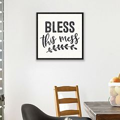 Artissimo Designs 'Bless This Mess' Framed Canvas Wall Art