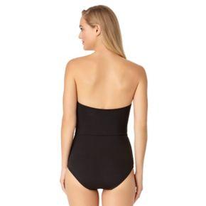 Women's Cole of California D-Cup Mesh Bandeau One-Piece Swimsuit